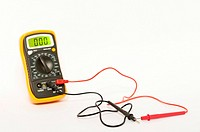A voltmeter for testing electrical things on a white background