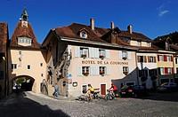 Cyclists in Saint d'Ursanne, Jura, Switzerland, Europe