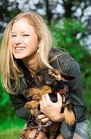 Young Woman with Dachshund