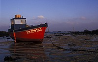 Boat in Mud at Ebb, Bretagne, France