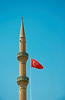 Minaret, Grand Mosque Ulu Cami and Turkish flag, Sanliurfa, Anatolia, Turkey, Asia