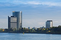View from the Rhine River to the UN Campus, Langer Eugen, German headquarters of the UN, Post Tower und Ameron World Conference Hotel, WCCB World Conf...