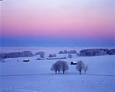 Winter morning Muensing Upper Bavaria Germany