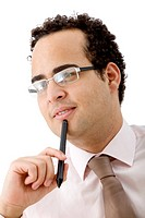 Pensive business man isolated over a white background