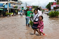 Street scene of floods in Siem Reap  Cambodia  Asia