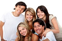 Happy group of people isolated over a white background