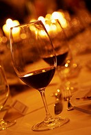 Glasses of red wine on a table during a tasting evening
