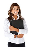 Business woman holding a portfolio isolated over a white background