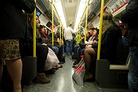 Crowded interior of tube train  London underground, UKLondon Underground Tube filmed under film permit issued by Kate Reston London Underground Film O...