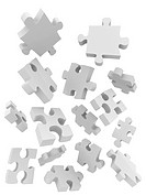 illustration of puzzle pieces falling isolated over white