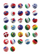3D football with flags of different countries for the World Cup _ isolated