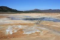 Iceland, volcano island, Europe, nature, scenery, landscape, Namaskard, Myvatn, Sollfataren, mud hole, active, volcano, zone, steam, vapor, geothermal...