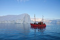 Tourist boat in the Kangia Icefjord, Disko_Bay, West_Greenland, Greenland