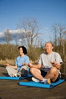 A shot of senior asian couple practicing yoga and meditating