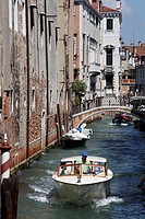 Boat and canal, Venice, Veneto, Italy, Europe