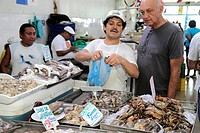 Panama, Panama City, Ancon, Mercado de Mariscos, market, merchant, selling, shopping, retail, shrimp, oyster, seafood, business, stall, local food, Hi...