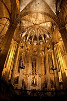 Interior of Barcelona Cathedral Church in Barcelona, Catalonia, Spain