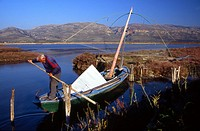 Greek fisherman at Missolonghi lagoon Greece