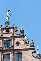 Statue at the top of Stadtmuseum in Nuremberg  Germany