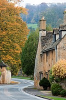 Winding road through the Cotswold village of Broadway, Worcestershire, UK