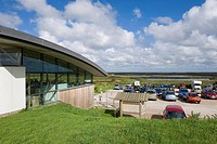 Eco visitor centre and reserve carpark, Cley Marshes, Norfolk Wildlife Trust Reserve, Cley_next_the_Sea, Norfolk, England, september