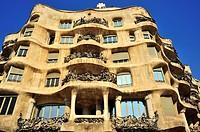Edificio de estilo modernista Casa Milà La Pedrera, siglo XX, Antoni Gaudí i Cornet, Barcelona, Catalunya, España