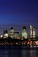 City of London Skyline at Night, viewed from Bermondsey, London, England, UK