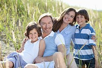 Germany, Bavaria, Family enjoying together, smiling, portrait