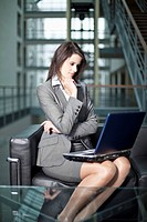 Germany, Bavaria, Business woman with laptop
