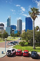 Skyscrapers of city skyline, Perth, Western Australia, Australia