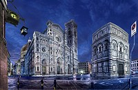 Florence - cathedral of Santa Maria del Fiore in the night - west facade