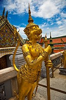 Statue of mithological creature  Wat Phra Kaew Emerald Buddha Temple and Grand Palace  Bangkok, Thailand, Southeast Asia, Asia,