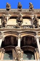 Gargoyles on facade of cathedral Notre Dame, Dijon, Côte-d´Or departement, Burgundy, France
