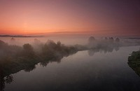 Misty morning on Narew river near Lomza  Poland