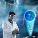 Scientist analyzing molecular models in a laboratory