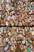 Recycled aluminum cans, flattened and crushed