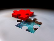 illustration of piece of red puzzle
