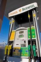 Biodiesel and Ethanol fuel pumps at retail fuel station, E85 & E10 ethanol, B5, B20 biodiesel, Minden Nevada
