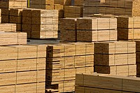 Lumber piles at sawmill, Coos County, Oregon