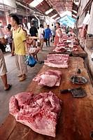 Butcher´s shop, Market Rongjiang, Rongjiang, Guizhou, China.