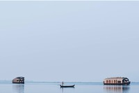 Boats in a lagoon, Kerala Backwaters, Alleppey, Alappuzha District, Kerala, India