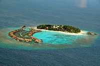 Indian Ocean, Maldives, resort aerial view