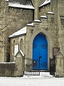 The blue doorway of the Methodist Church in Clontarf, Dublin, Ireland