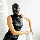 portrait of woman in latex