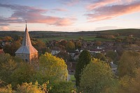 England, Hampshire, East Meon. Sunset over the village of East Meon on the South Downs
