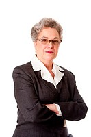 Experienced female business lawyer in suit  Beautiful Senior old woman with arms crossed, isolated