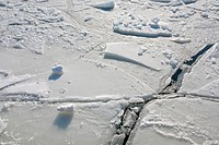 cracks in ice sheet, Helsinki Finland