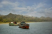 Fishing boats at Saint Martin's Island at Teknaf in Cox's Bazar It is the only coral island of Bangladesh and one of the famous tourist destinations o...
