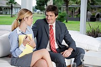 Businessman with a businesswoman at a meeting