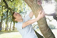 Man swinging from a tree in a park